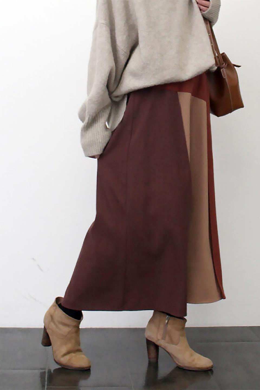 EcoSuedePanelSkirtフェイクスウェード・切り替えスカート大人カジュアルに最適な海外ファッションのothers(その他インポートアイテム)のボトムやスカート。絶妙なカラーリングが目を引くフェイクスウェードの配色ロングスカート。秋冬に欲しくなる色を全て使ったような合わせやすいアイテム。/main-26