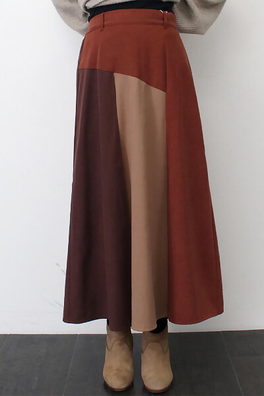 EcoSuedePanelSkirtフェイクスウェード・切り替えスカート大人カジュアルに最適な海外ファッションのothers(その他インポートアイテム)のボトムやスカート。絶妙なカラーリングが目を引くフェイクスウェードの配色ロングスカート。秋冬に欲しくなる色を全て使ったような合わせやすいアイテム。/main-27