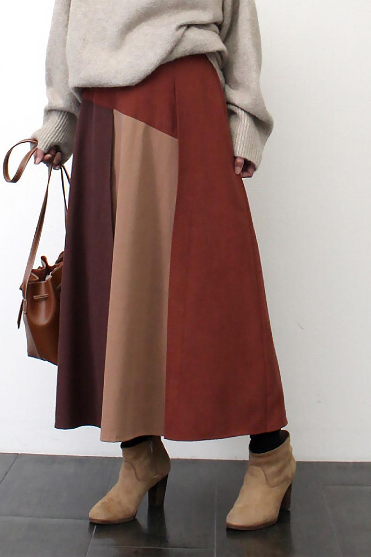 EcoSuedePanelSkirtフェイクスウェード・切り替えスカート大人カジュアルに最適な海外ファッションのothers(その他インポートアイテム)のボトムやスカート。絶妙なカラーリングが目を引くフェイクスウェードの配色ロングスカート。秋冬に欲しくなる色を全て使ったような合わせやすいアイテム。/main-28