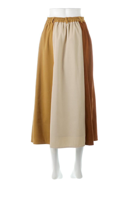 EcoSuedePanelSkirtフェイクスウェード・切り替えスカート大人カジュアルに最適な海外ファッションのothers(その他インポートアイテム)のボトムやスカート。絶妙なカラーリングが目を引くフェイクスウェードの配色ロングスカート。秋冬に欲しくなる色を全て使ったような合わせやすいアイテム。/main-4