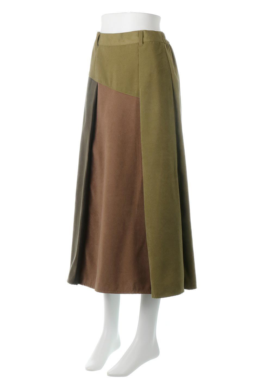 EcoSuedePanelSkirtフェイクスウェード・切り替えスカート大人カジュアルに最適な海外ファッションのothers(その他インポートアイテム)のボトムやスカート。絶妙なカラーリングが目を引くフェイクスウェードの配色ロングスカート。秋冬に欲しくなる色を全て使ったような合わせやすいアイテム。/main-6