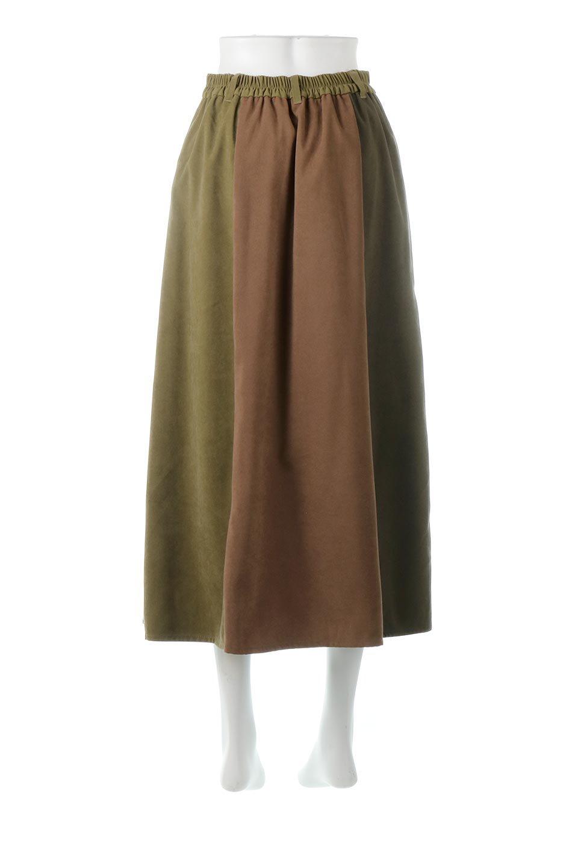 EcoSuedePanelSkirtフェイクスウェード・切り替えスカート大人カジュアルに最適な海外ファッションのothers(その他インポートアイテム)のボトムやスカート。絶妙なカラーリングが目を引くフェイクスウェードの配色ロングスカート。秋冬に欲しくなる色を全て使ったような合わせやすいアイテム。/main-9