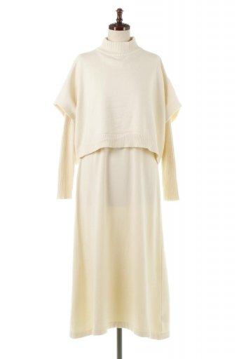 海外ファッションや大人カジュアルに最適なインポートセレクトアイテムのRib Knit Long Dress With Cape ケープトップス&リブニットワンピセット
