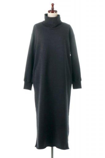 海外ファッションや大人カジュアルに最適なインポートセレクトアイテムのHigh Neck Sweat Dress 裏起毛・ハイネックワンピース