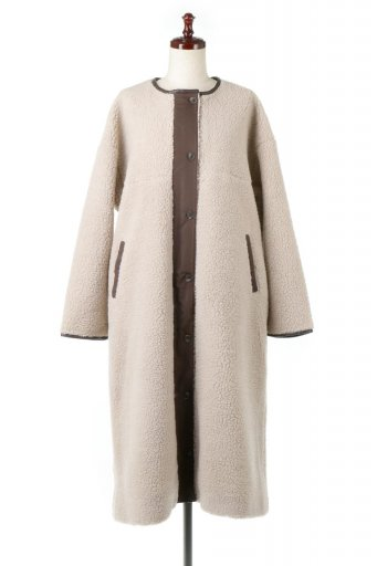 海外ファッションや大人カジュアルに最適なインポートセレクトアイテムのShearling Fleece Collarless Coat ボア&パイピング・ノーカラーコート