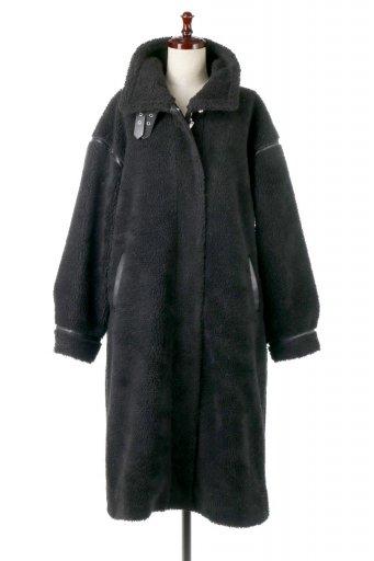 海外ファッションや大人カジュアルに最適なインポートセレクトアイテムのShearling Fleece Strapped Neck Coat ボア&パイピング・ハイネックコート