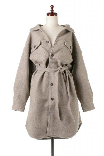 海外ファッションや大人カジュアルに最適なインポートセレクトアイテムのEco Wool Oversized Long Shirt Jacket フェイクウール・オーバーサイズシャツジャケット