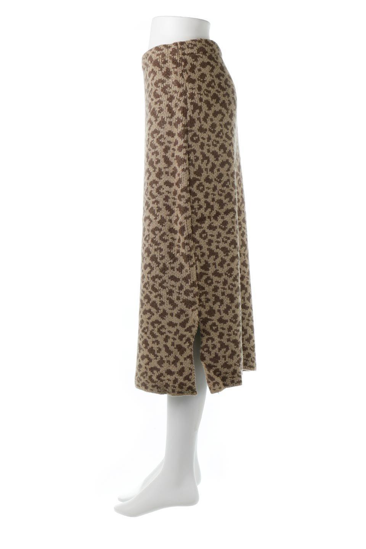 LeopardPatternedKnitSkirtレオパード柄・ニットスカート大人カジュアルに最適な海外ファッションのothers(その他インポートアイテム)のボトムやスカート。根強い人気のレオパード柄をあしらったニットスカート。茶系のレオパード柄はコーディネートも楽に決まる人気のカラーリング。/main-2