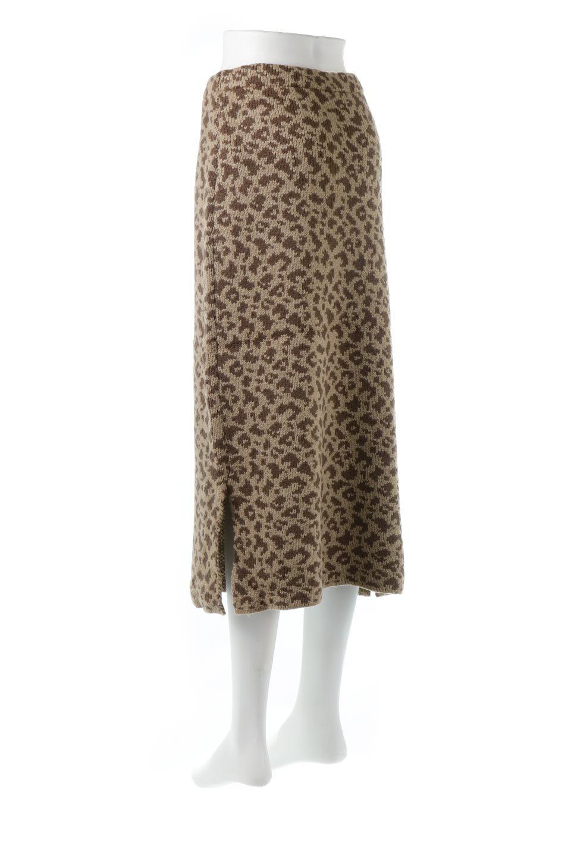 LeopardPatternedKnitSkirtレオパード柄・ニットスカート大人カジュアルに最適な海外ファッションのothers(その他インポートアイテム)のボトムやスカート。根強い人気のレオパード柄をあしらったニットスカート。茶系のレオパード柄はコーディネートも楽に決まる人気のカラーリング。/main-3