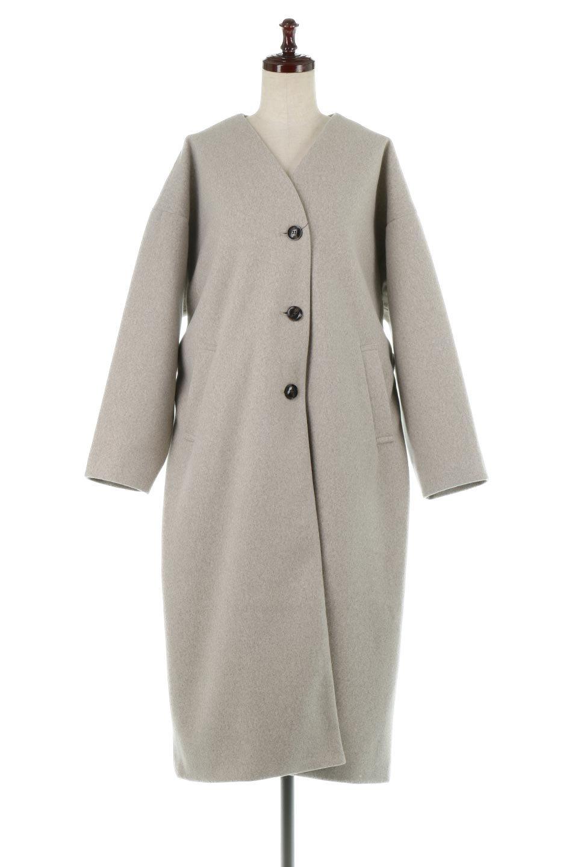 EcoWoolCollarlessLongCoatフェイクウール・ノーカラーコート大人カジュアルに最適な海外ファッションのothers(その他インポートアイテム)のアウターやコート。暖かみのあるフェイクウールを使用したノーカラーコート。カジュアル過ぎないノーカラーデザインが上品に魅せ、スッキリとしたシルエットで落ち着いた大人コーデには欠かせません。