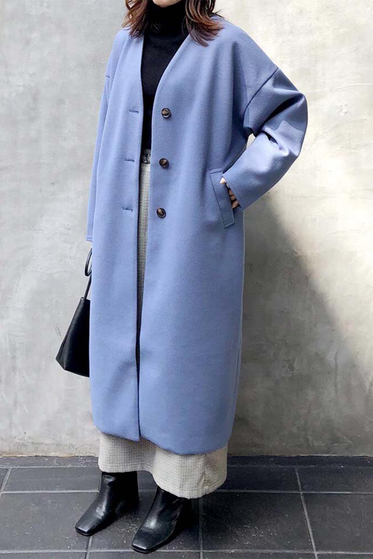 EcoWoolCollarlessLongCoatフェイクウール・ノーカラーコート大人カジュアルに最適な海外ファッションのothers(その他インポートアイテム)のアウターやコート。暖かみのあるフェイクウールを使用したノーカラーコート。カジュアル過ぎないノーカラーデザインが上品に魅せ、スッキリとしたシルエットで落ち着いた大人コーデには欠かせません。/main-35
