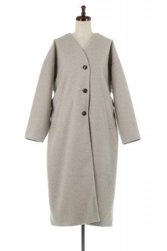 海外ファッションや大人カジュアルに最適なインポートセレクトアイテムのEco Wool Collarless Long Coat フェイクウール・ノーカラーコート