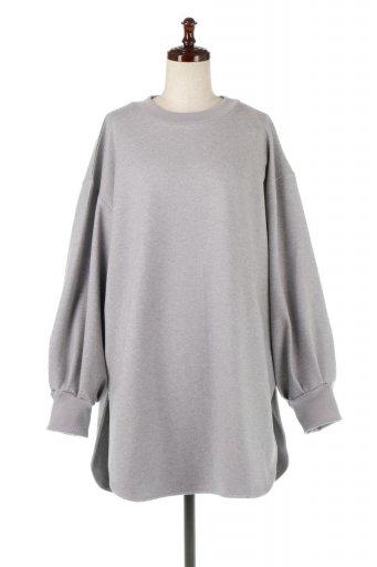 海外ファッションや大人カジュアルに最適なインポートセレクトアイテムのRaised Back Twill Pullover Top 裏起毛ツイル・ロングプルオーバー