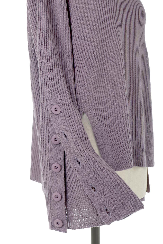 ButtonSleeveSideSlitTopボタンスリーブ・リブニットトップ大人カジュアルに最適な海外ファッションのothers(その他インポートアイテム)のトップスやカットソー。大きめボタンの袖が可愛いリブニットのハイネックトップス。厚すぎない生地感で春にも活躍するアイテムです。/main-30