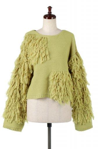 海外ファッションや大人カジュアルに最適なインポートセレクトアイテムのLooped Fringe Pull Over Knit ループフリンジ・プルオーバーニット
