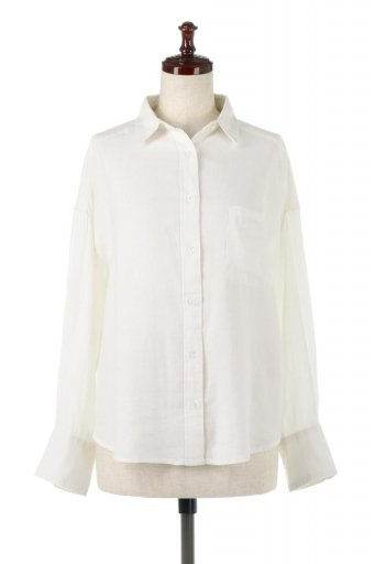 海外ファッションや大人カジュアルに最適なインポートセレクトアイテムのLoose Fit Long Sleeve Linen Shirts コットンリネン・ベーシックシャツ