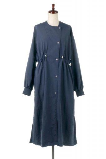 海外ファッションや大人カジュアルに最適なインポートセレクトアイテムのWater Repellent Collarless Spring Coat 撥水加工・ノーカラースプリングコート