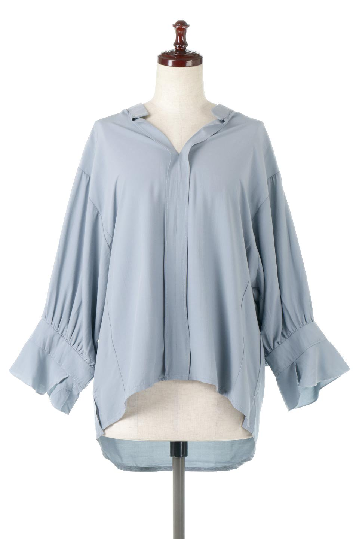 FrillSleeveSlitNeckBlouse袖フリル・キーネックブラウス大人カジュアルに最適な海外ファッションのothers(その他インポートアイテム)のトップスやシャツ・ブラウス。さりげない袖のフリルが可愛らしすぎずオトナな印象のブラウス。くびもとはVネックになっているのですっきりして、パンツにもスカートにも合わせやすい丈感。