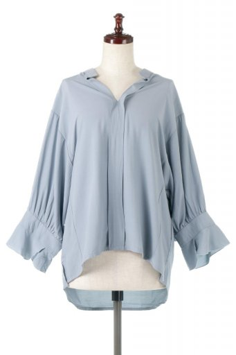 Frill Sleeve Slit Neck Blouse 袖フリル・キーネックブラウス / 大人カジュアルに最適な海外ファッションが得意な福島市のセレクトショップbloom