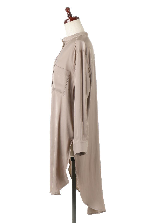 SatinLongShirtsTunicロング丈・サテンシャツチュニック大人カジュアルに最適な海外ファッションのothers(その他インポートアイテム)のトップスやシャツ・ブラウス。普段のコーディネートにプラスするだけで可愛いコーデが完成するツヤ感のあるシャツチュニック。お尻までしっかりと隠れるオーバーサイズがかわいく、いろいろと着こなしができるアイテム。/main-2