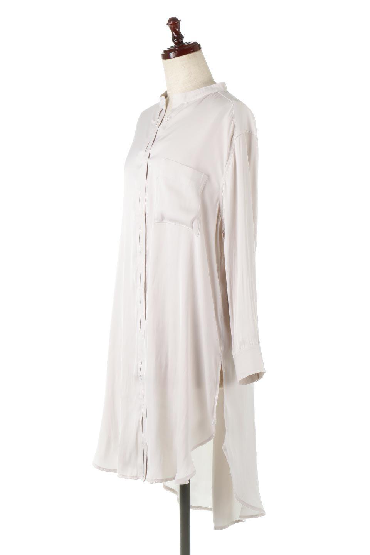SatinLongShirtsTunicロング丈・サテンシャツチュニック大人カジュアルに最適な海外ファッションのothers(その他インポートアイテム)のトップスやシャツ・ブラウス。普段のコーディネートにプラスするだけで可愛いコーデが完成するツヤ感のあるシャツチュニック。お尻までしっかりと隠れるオーバーサイズがかわいく、いろいろと着こなしができるアイテム。/main-6