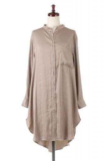 Satin Long Shirts Tunic ロング丈・サテンシャツチュニック / 大人カジュアルに最適な海外ファッションが得意な福島市のセレクトショップbloom