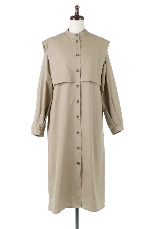 TwillFauxLayeredFullOpenDressコットンツイル・ワンピースコート大人カジュアルに最適な海外ファッションのothers(その他インポートアイテム)のアウターやコート。クラシカルなヨークデザインが新鮮なコットンツイルのワンピースコート。シルエットが綺麗に見えるコットンツイルのハリ感のある生地を使用。