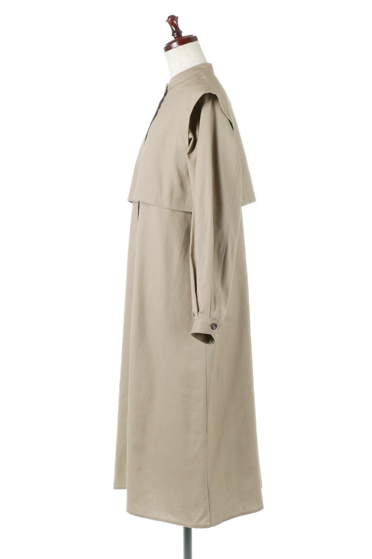 TwillFauxLayeredFullOpenDressコットンツイル・ワンピースコート大人カジュアルに最適な海外ファッションのothers(その他インポートアイテム)のアウターやコート。クラシカルなヨークデザインが新鮮なコットンツイルのワンピースコート。シルエットが綺麗に見えるコットンツイルのハリ感のある生地を使用。/main-2