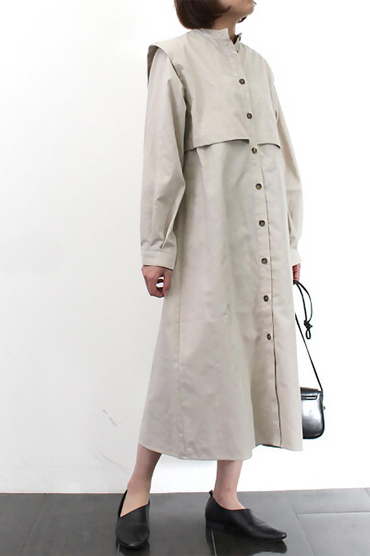 TwillFauxLayeredFullOpenDressコットンツイル・ワンピースコート大人カジュアルに最適な海外ファッションのothers(その他インポートアイテム)のアウターやコート。クラシカルなヨークデザインが新鮮なコットンツイルのワンピースコート。シルエットが綺麗に見えるコットンツイルのハリ感のある生地を使用。/main-23