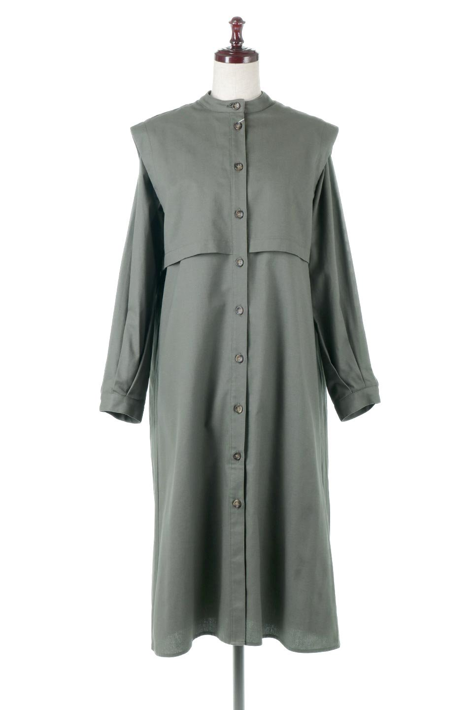 TwillFauxLayeredFullOpenDressコットンツイル・ワンピースコート大人カジュアルに最適な海外ファッションのothers(その他インポートアイテム)のアウターやコート。クラシカルなヨークデザインが新鮮なコットンツイルのワンピースコート。シルエットが綺麗に見えるコットンツイルのハリ感のある生地を使用。/main-5