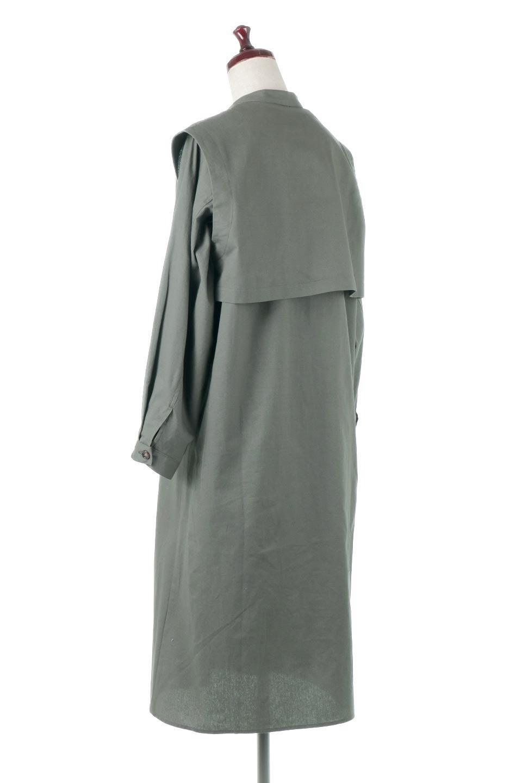 TwillFauxLayeredFullOpenDressコットンツイル・ワンピースコート大人カジュアルに最適な海外ファッションのothers(その他インポートアイテム)のアウターやコート。クラシカルなヨークデザインが新鮮なコットンツイルのワンピースコート。シルエットが綺麗に見えるコットンツイルのハリ感のある生地を使用。/main-8