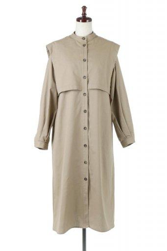 海外ファッションや大人カジュアルに最適なインポートセレクトアイテムのTwill Faux Layered Full Open Dress コットンツイル・ワンピースコート