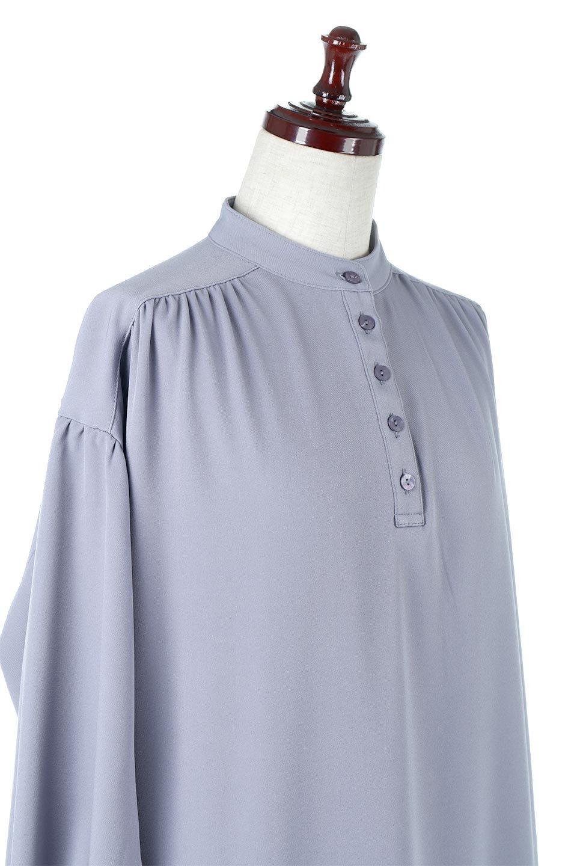PuffSleeveLongDressスタンドカラー・裾切り替えワンピース大人カジュアルに最適な海外ファッションのothers(その他インポートアイテム)のワンピースやマキシワンピース。切り替えになった裾のフレアシルエットが可愛いロングワンピース。しっかりした生地でストレッチも効いた着心地の良いアイテムです。/main-15