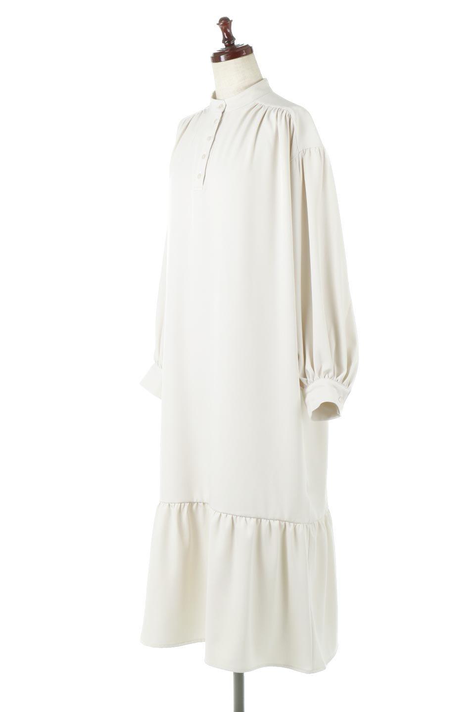 PuffSleeveLongDressスタンドカラー・裾切り替えワンピース大人カジュアルに最適な海外ファッションのothers(その他インポートアイテム)のワンピースやマキシワンピース。切り替えになった裾のフレアシルエットが可愛いロングワンピース。しっかりした生地でストレッチも効いた着心地の良いアイテムです。/main-6