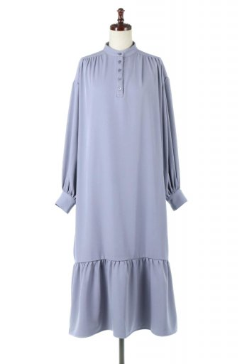 Puff Sleeve Long Dress スタンドカラー・裾切り替えワンピース / 大人カジュアルに最適な海外ファッションが得意な福島市のセレクトショップbloom