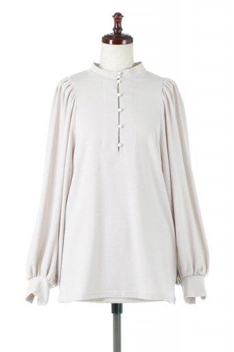 海外ファッションや大人カジュアルに最適なインポートセレクトアイテムのVolume Sleeve Soft Blouse ボリュームスリーブ・起毛ブラウス