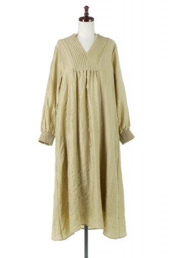 Pin Tuck Flare Long Dress ピンタック・ロングワンピース / 大人カジュアルに最適な海外ファッションが得意な福島市のセレクトショップbloom