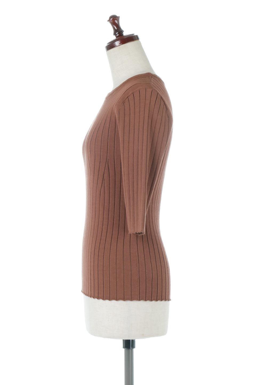 WideRibbedSummerKnitTopワイドリブ・サマーニットトップス大人カジュアルに最適な海外ファッションのothers(その他インポートアイテム)のトップスやニット・セーター。夏でも着れるシンプルデザインのサマーニット。バストラインがきれいに見えるカットラインがポイント。/main-2