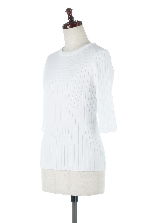 WideRibbedSummerKnitTopワイドリブ・サマーニットトップス大人カジュアルに最適な海外ファッションのothers(その他インポートアイテム)のトップスやニット・セーター。夏でも着れるシンプルデザインのサマーニット。バストラインがきれいに見えるカットラインがポイント。/main-6