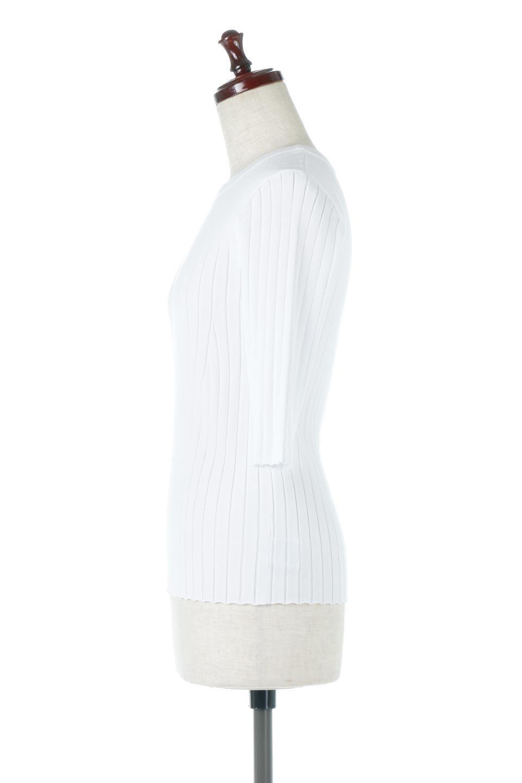 WideRibbedSummerKnitTopワイドリブ・サマーニットトップス大人カジュアルに最適な海外ファッションのothers(その他インポートアイテム)のトップスやニット・セーター。夏でも着れるシンプルデザインのサマーニット。バストラインがきれいに見えるカットラインがポイント。/main-7