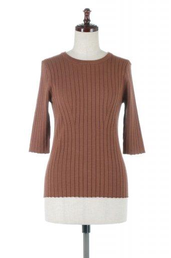 海外ファッションや大人カジュアルに最適なインポートセレクトアイテムのWide Ribbed Summer Knit Top ワイドリブ・サマーニットトップス