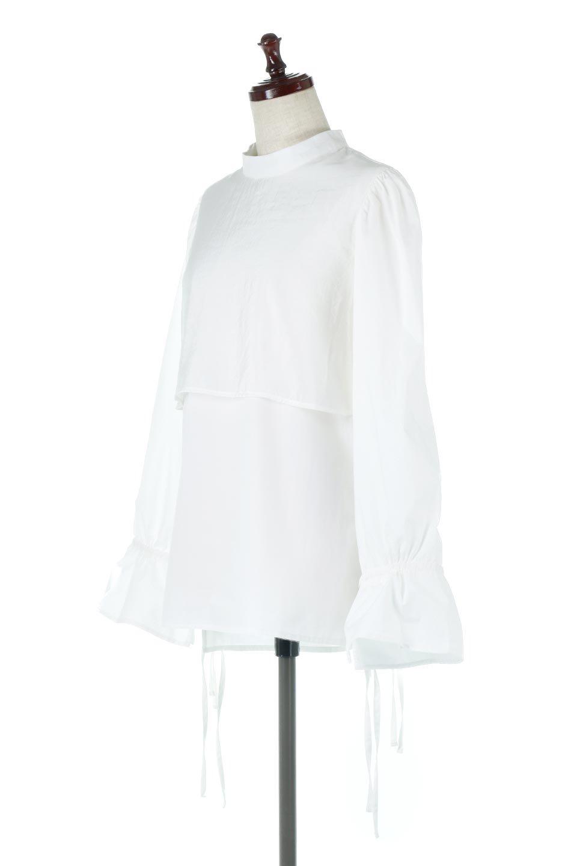 FauxLayeredCandySleeveBlouseシアーサテン・ドッキングブラウス大人カジュアルに最適な海外ファッションのothers(その他インポートアイテム)のトップスやシャツ・ブラウス。春らしい軽やかなシアー感のあるサテンをドッキングさせた長袖ブラウス。ニットベストとのドッキングブラウスよりも春夏向けのアイテム。/main-1