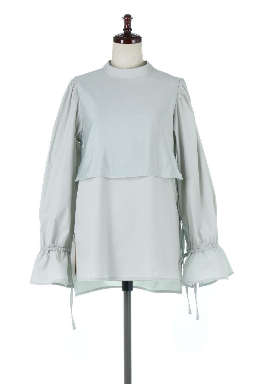FauxLayeredCandySleeveBlouseシアーサテン・ドッキングブラウス大人カジュアルに最適な海外ファッションのothers(その他インポートアイテム)のトップスやシャツ・ブラウス。春らしい軽やかなシアー感のあるサテンをドッキングさせた長袖ブラウス。ニットベストとのドッキングブラウスよりも春夏向けのアイテム。/main-10