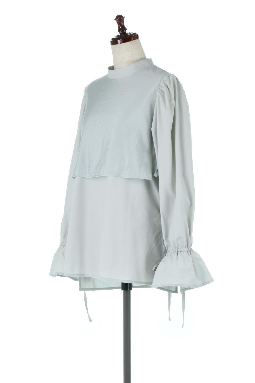 FauxLayeredCandySleeveBlouseシアーサテン・ドッキングブラウス大人カジュアルに最適な海外ファッションのothers(その他インポートアイテム)のトップスやシャツ・ブラウス。春らしい軽やかなシアー感のあるサテンをドッキングさせた長袖ブラウス。ニットベストとのドッキングブラウスよりも春夏向けのアイテム。/main-11