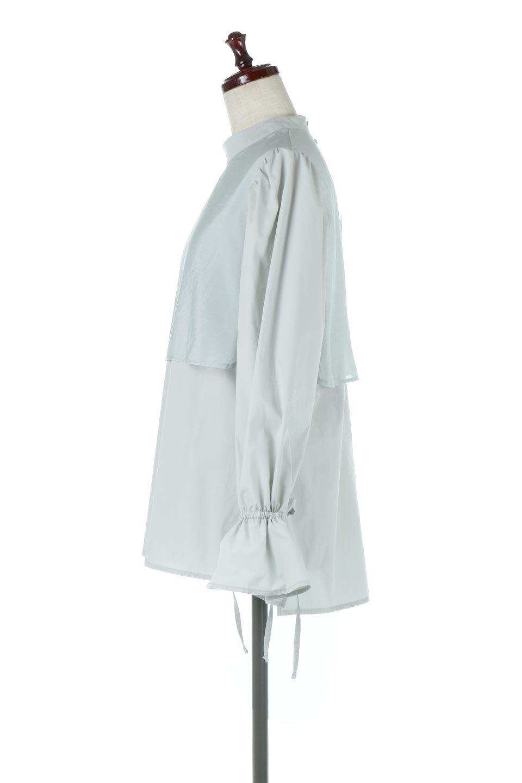 FauxLayeredCandySleeveBlouseシアーサテン・ドッキングブラウス大人カジュアルに最適な海外ファッションのothers(その他インポートアイテム)のトップスやシャツ・ブラウス。春らしい軽やかなシアー感のあるサテンをドッキングさせた長袖ブラウス。ニットベストとのドッキングブラウスよりも春夏向けのアイテム。/main-12