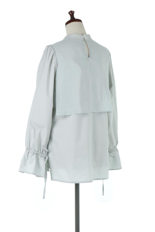 FauxLayeredCandySleeveBlouseシアーサテン・ドッキングブラウス大人カジュアルに最適な海外ファッションのothers(その他インポートアイテム)のトップスやシャツ・ブラウス。春らしい軽やかなシアー感のあるサテンをドッキングさせた長袖ブラウス。ニットベストとのドッキングブラウスよりも春夏向けのアイテム。/main-13