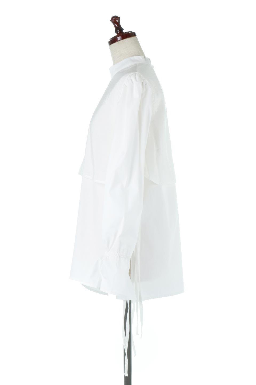 FauxLayeredCandySleeveBlouseシアーサテン・ドッキングブラウス大人カジュアルに最適な海外ファッションのothers(その他インポートアイテム)のトップスやシャツ・ブラウス。春らしい軽やかなシアー感のあるサテンをドッキングさせた長袖ブラウス。ニットベストとのドッキングブラウスよりも春夏向けのアイテム。/main-2