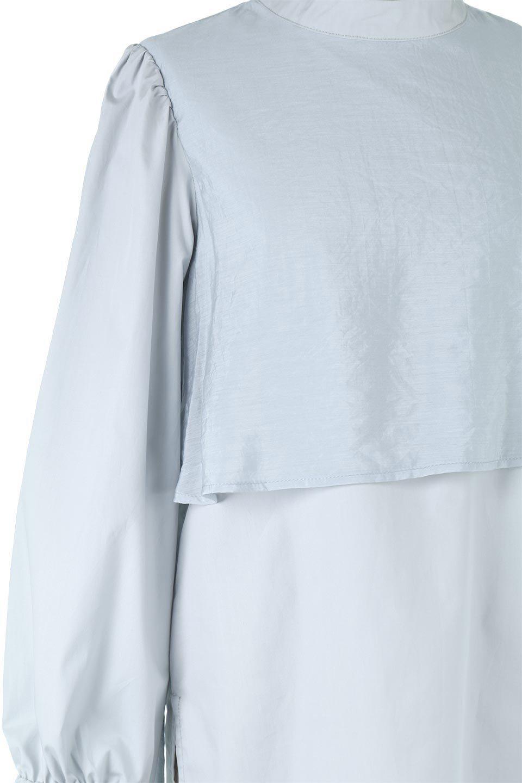 FauxLayeredCandySleeveBlouseシアーサテン・ドッキングブラウス大人カジュアルに最適な海外ファッションのothers(その他インポートアイテム)のトップスやシャツ・ブラウス。春らしい軽やかなシアー感のあるサテンをドッキングさせた長袖ブラウス。ニットベストとのドッキングブラウスよりも春夏向けのアイテム。/main-22