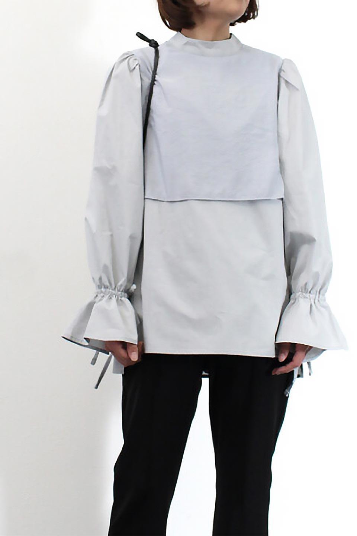 FauxLayeredCandySleeveBlouseシアーサテン・ドッキングブラウス大人カジュアルに最適な海外ファッションのothers(その他インポートアイテム)のトップスやシャツ・ブラウス。春らしい軽やかなシアー感のあるサテンをドッキングさせた長袖ブラウス。ニットベストとのドッキングブラウスよりも春夏向けのアイテム。/main-24