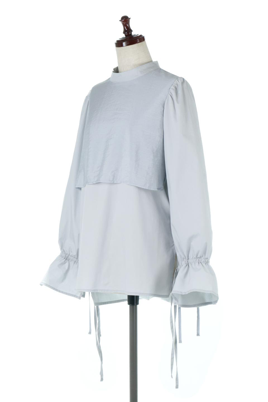 FauxLayeredCandySleeveBlouseシアーサテン・ドッキングブラウス大人カジュアルに最適な海外ファッションのothers(その他インポートアイテム)のトップスやシャツ・ブラウス。春らしい軽やかなシアー感のあるサテンをドッキングさせた長袖ブラウス。ニットベストとのドッキングブラウスよりも春夏向けのアイテム。/main-6